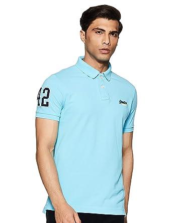 Superdry Hombre Polo clásico Piqué, Azul, Small: Amazon.es: Ropa y ...