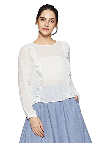 Only Onlsusanne L/S Frill Top Wvn, Blusa para Mujer
