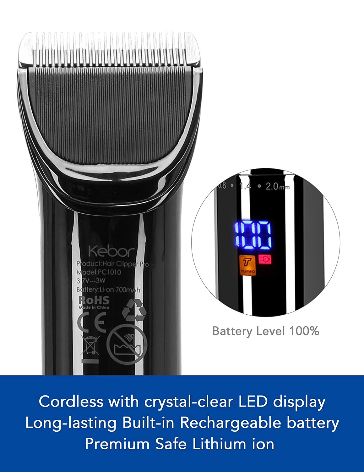 Hair Clippers for Men, Electric Wireless Mens Cordless Self Trimmer Kit, Rechargeable Lithium-ion Battery with LED Display, Charging Stand and Haircut Oil PC1010 Upgraded