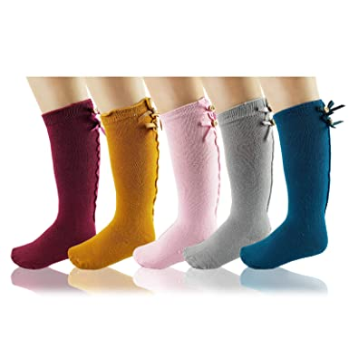 e27a9680760 Image Unavailable. Image not available for. Color  Deer Mum Girls Cute  Princess Knee High Socks Toddler Lovely Bowknot Boot ...