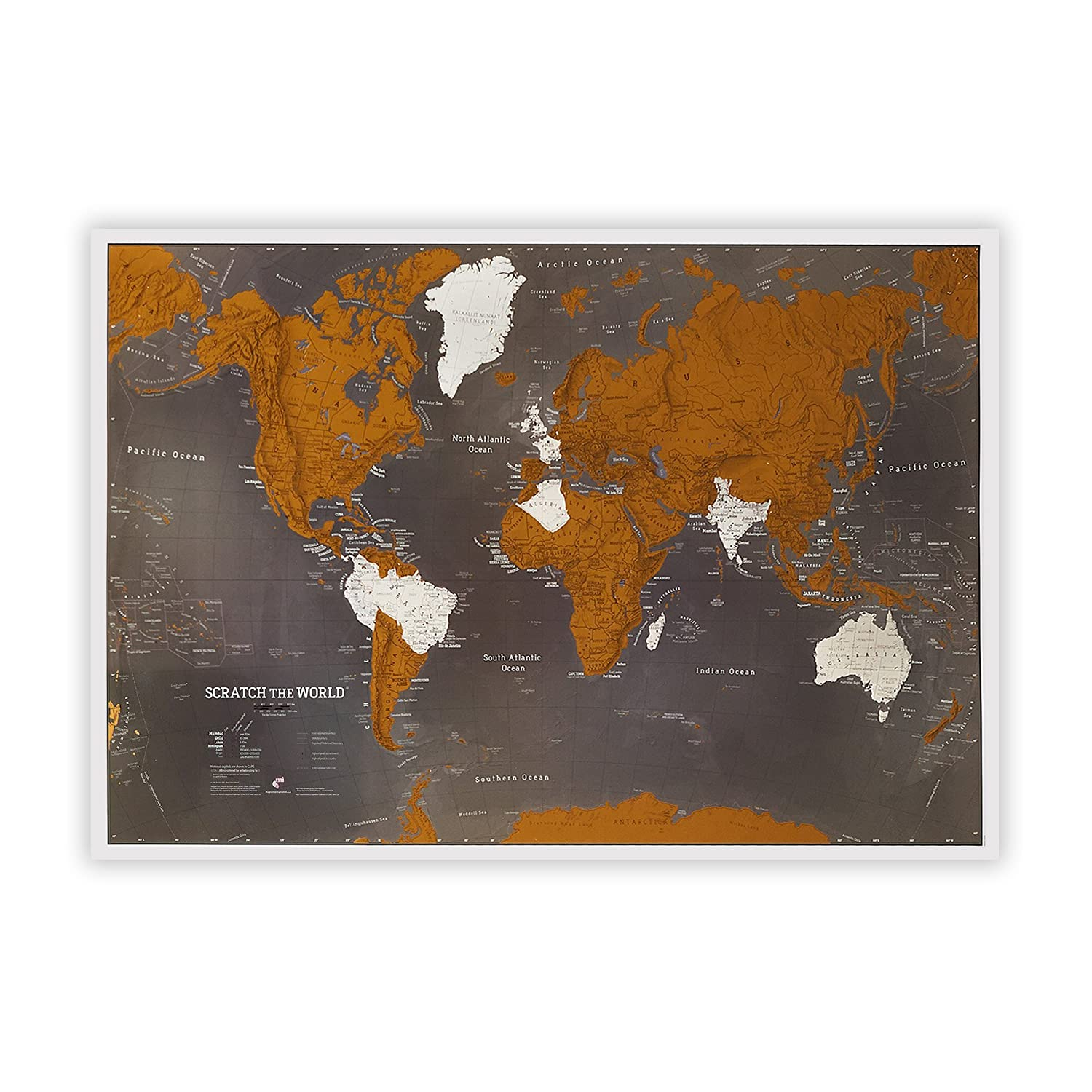 Maps International Scratch the World Travel Map - Black Scratch Off World Map Poster - 33 x 23