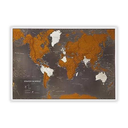 Maps International Scratch The World Travel Map Black Scratch Off World Map Poster 33 x 23