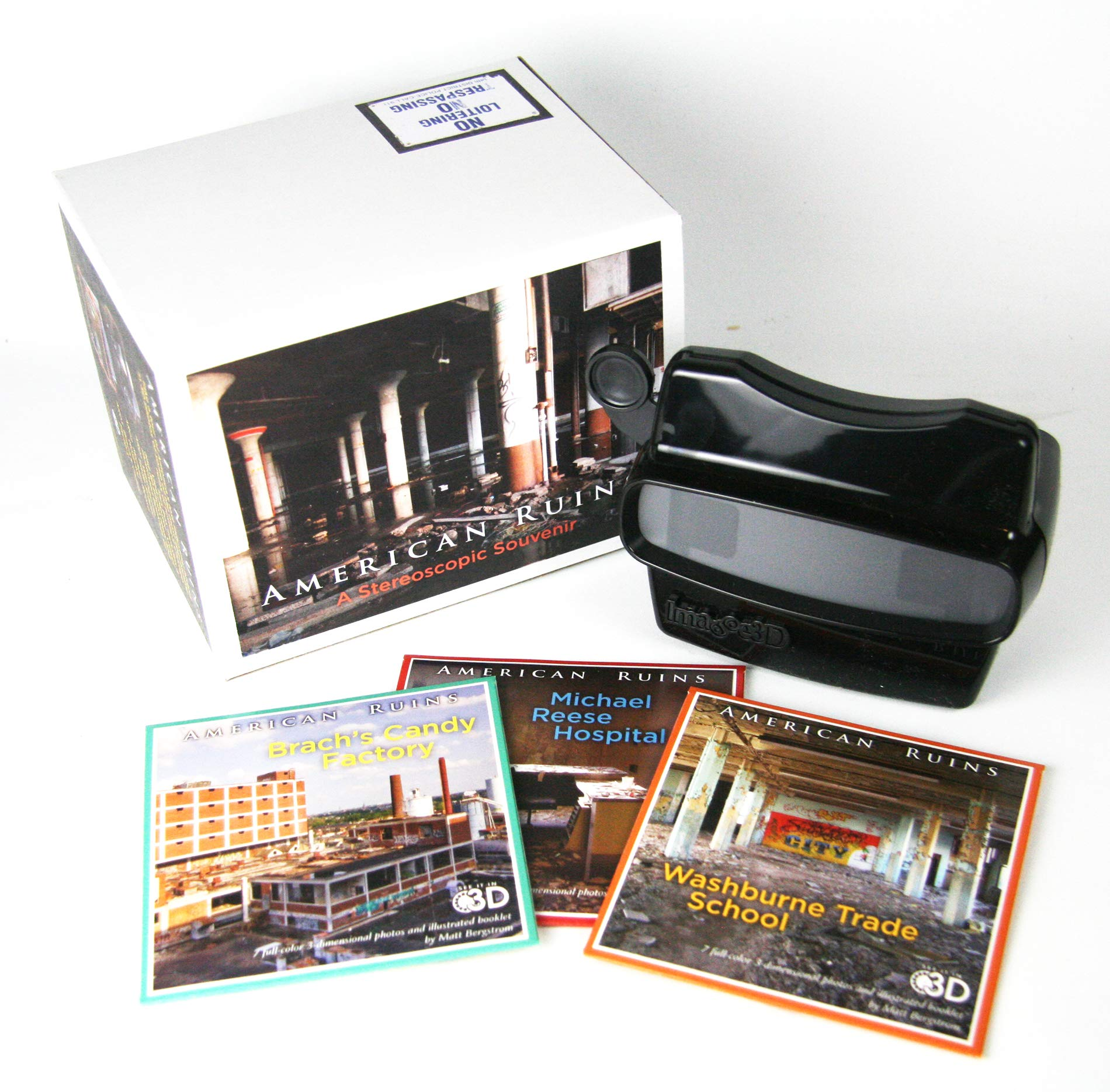 American Ruins - Stereoscopic Souvenir - GIFT SET - Viewer & Reels - Michael Reese Hospital, Washburn Trade School, Brach's Candy
