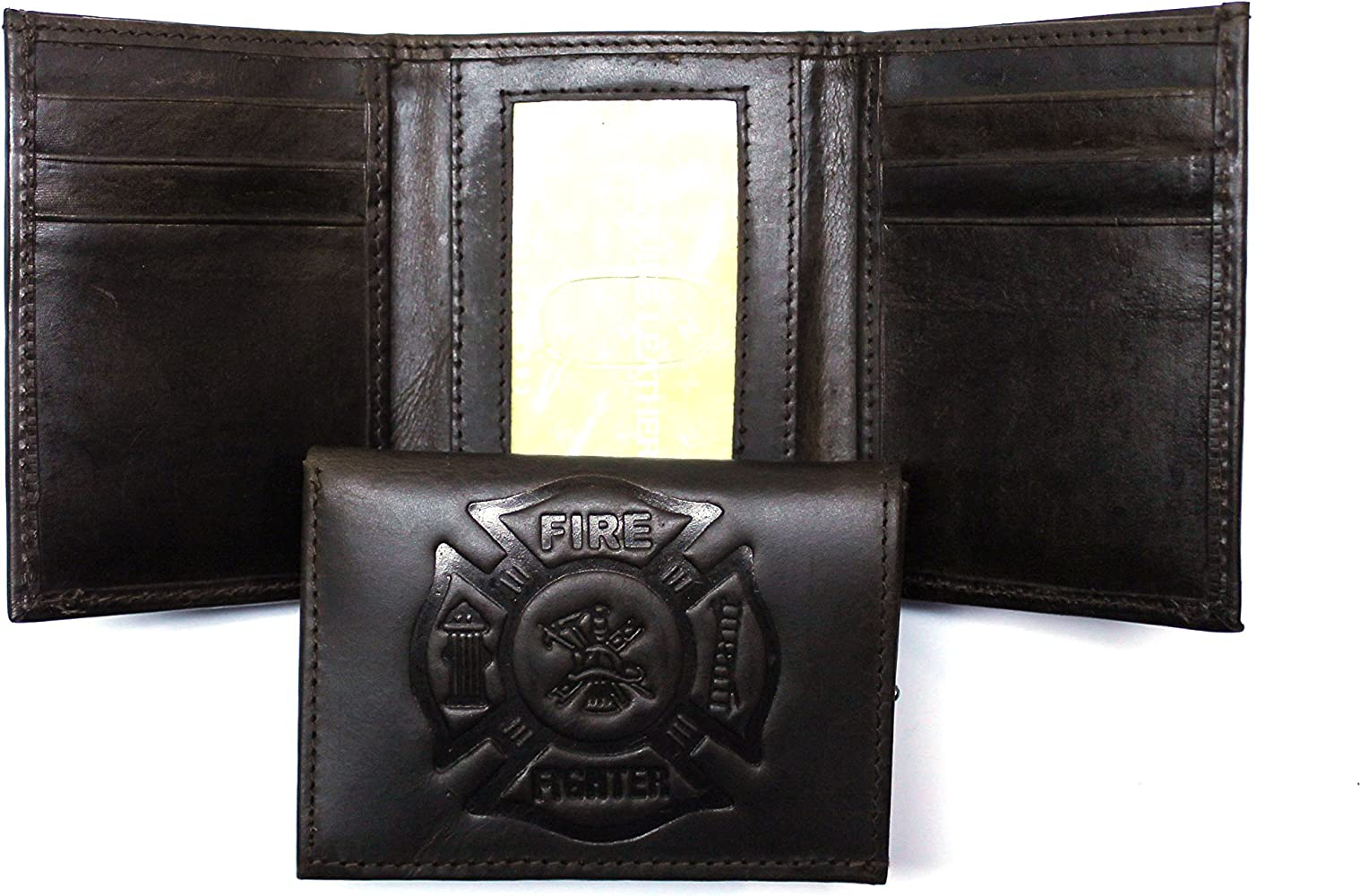 FIRE FIGHTER FIREMAN    Leather TriFold Wallet    NEW    brown 2