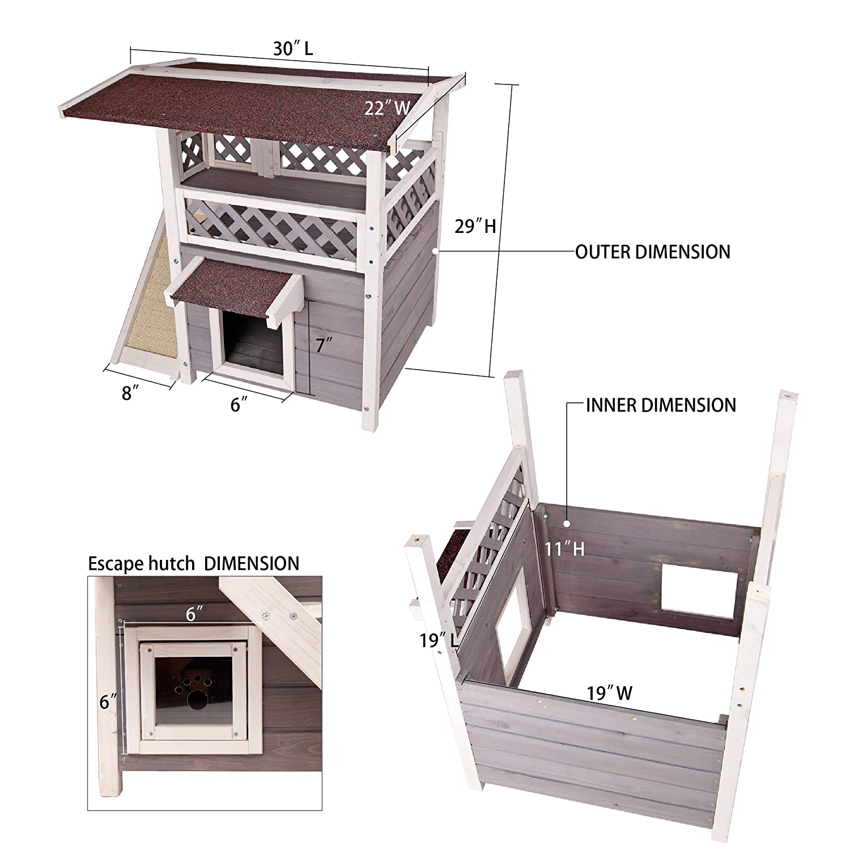 Amazon.com : Petsfit 2-Story Outdoor Weatherproof Cat House/Condo ...