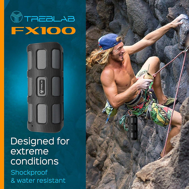 Built-in 7000mAh Power Bank Mic Water-Resistant HD Audio TREBLAB FX100 Portable Bluetooth Speakers Renewed Wireless Bluetooth Speakerphone w//Mic Rugged for Outdoors Shockproof
