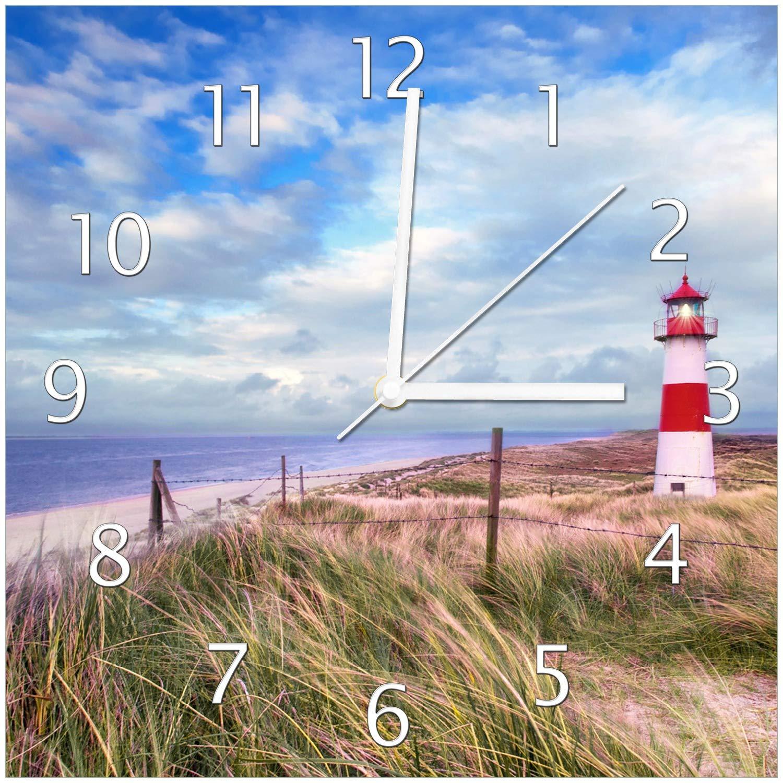 Wallario Glas-Uhr Echtglas Wanduhr Motivuhr • in Premium-Qualität • Größe  30x30cm • Motiv  Leuchtturm am Strand von Sylt