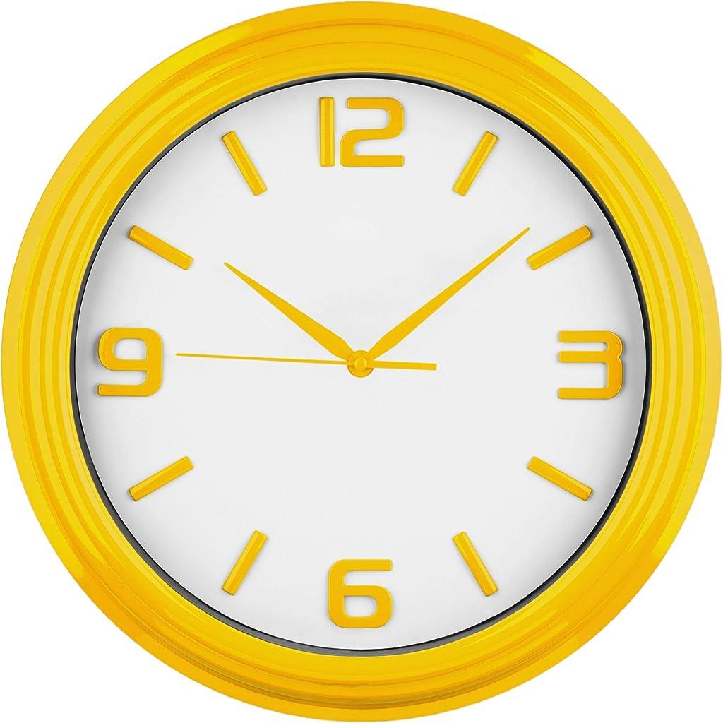Premier Housewares Round Kitchen Wall Clock Yellow