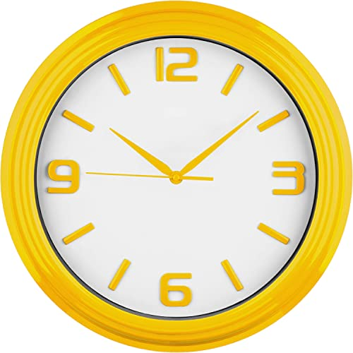 Premier Housewares Round Kitchen Wall Clock Yellow