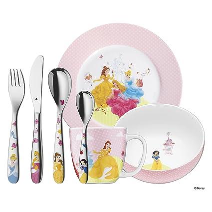 WMF Disney Princesas - Vajilla para niños 7 piezas, incluye plato, cuenco, taza