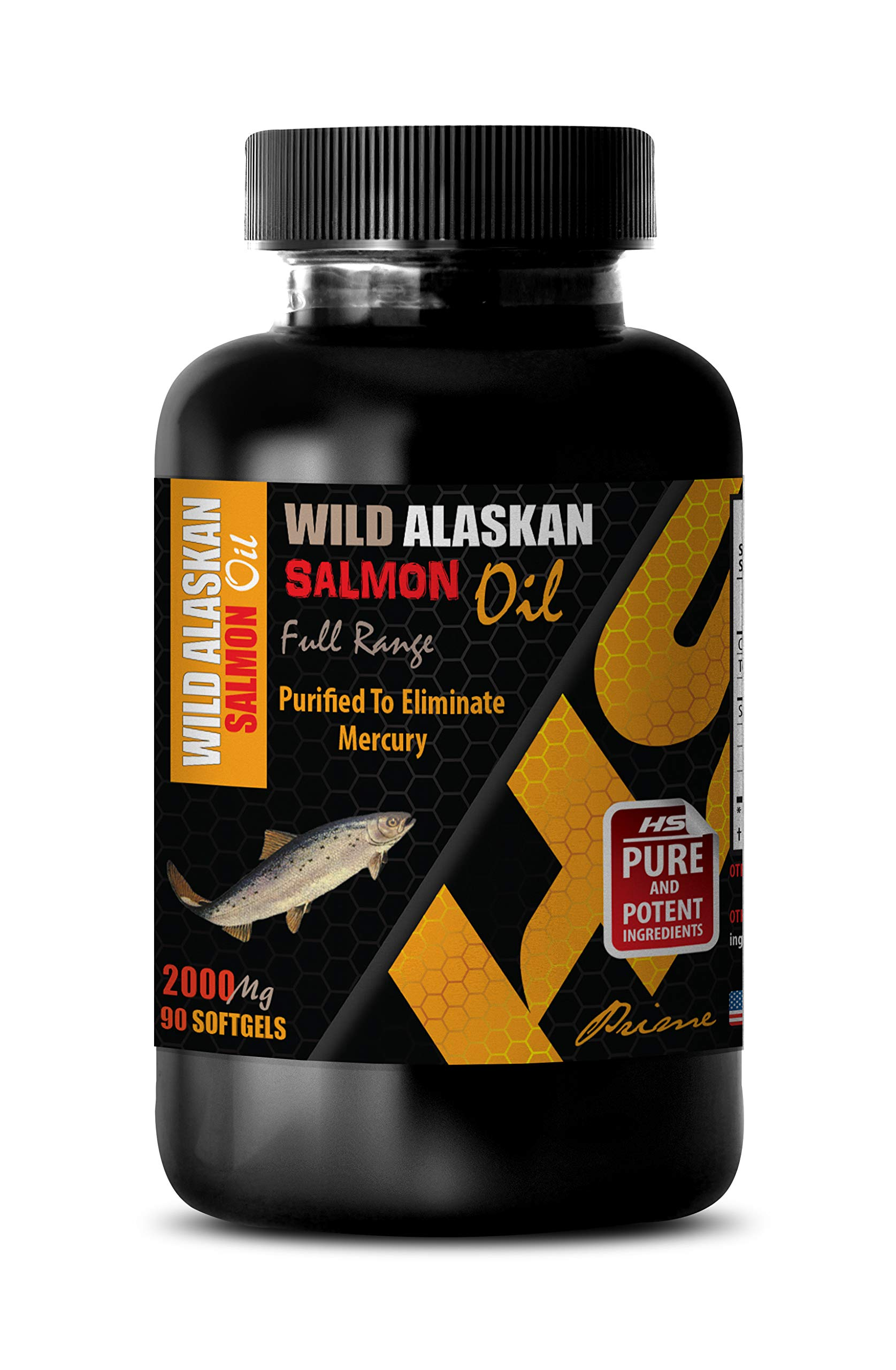 Brain Function and Focus Pills - Wild Alaskan Salmon Oil - Full Range 2000Mg - Wild Alaskan Salmon Oil for People - 1 Bottle 90 Softgels by HS PRIME