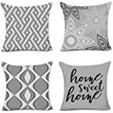 Amazon Com Fascidorm Throw Pillow Covers Modern Decorative Throw Pillow Case Cushion Case For Room Bedroom Room Sofa Chair Car Grey And White 18 X 18 Inch Home Kitchen