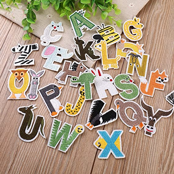 Zhiheng Parches para Planchar con Letras, 26 Unidades, Parches de Alfabeto en Forma de Animal, diseño de Bricolaje, para Planchar o Coser en Parches para ...