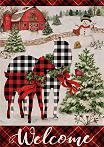 Furiaz Welcome Christmas Garden Flag, Xmas Buffalo Plaid Check Home Decorative House Yard Outside Small Flag Country Horse Snowman Decor, Winter Holiday Farmhouse Outdoor Seasonal Decoration 12 x 18
