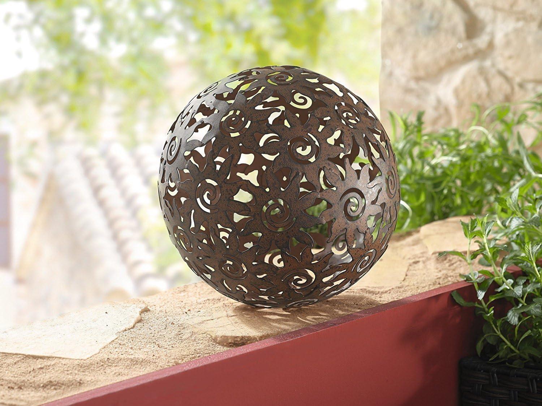 TFH Boule de jardin rouille soleil Boule d/écorative boule D/écoration D/écoration de jardin rouille boule rouille rouille soleil jardin moderne lignes