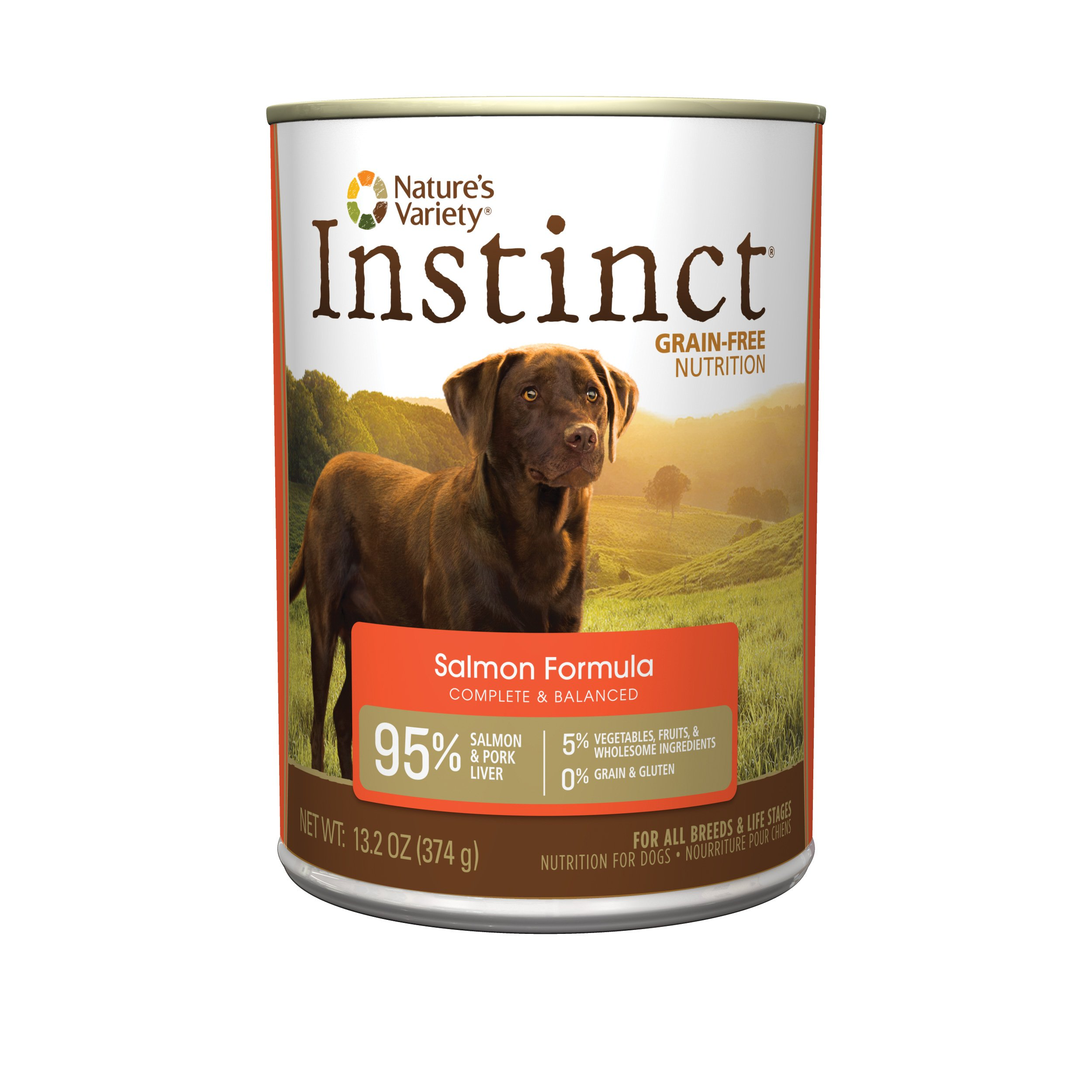Instinct Grain Free Salmon Formula Natural Wet Canned Dog Food by Nature's Variety, 13.2 oz. Cans (Case of 12)
