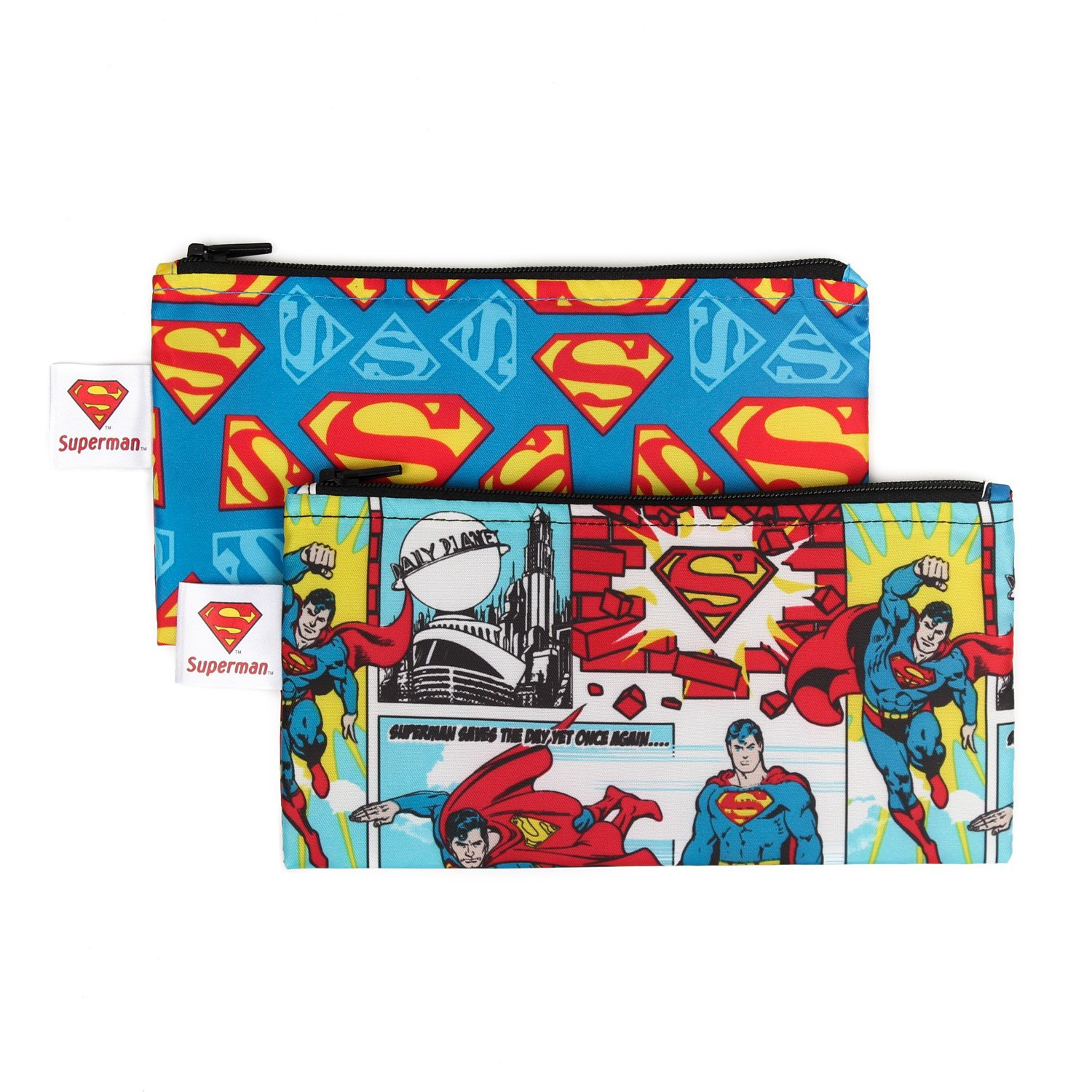 Bumkins DC Comics Reusable Snack Bag Small 2 Pack, Superman SBS2-WBSM