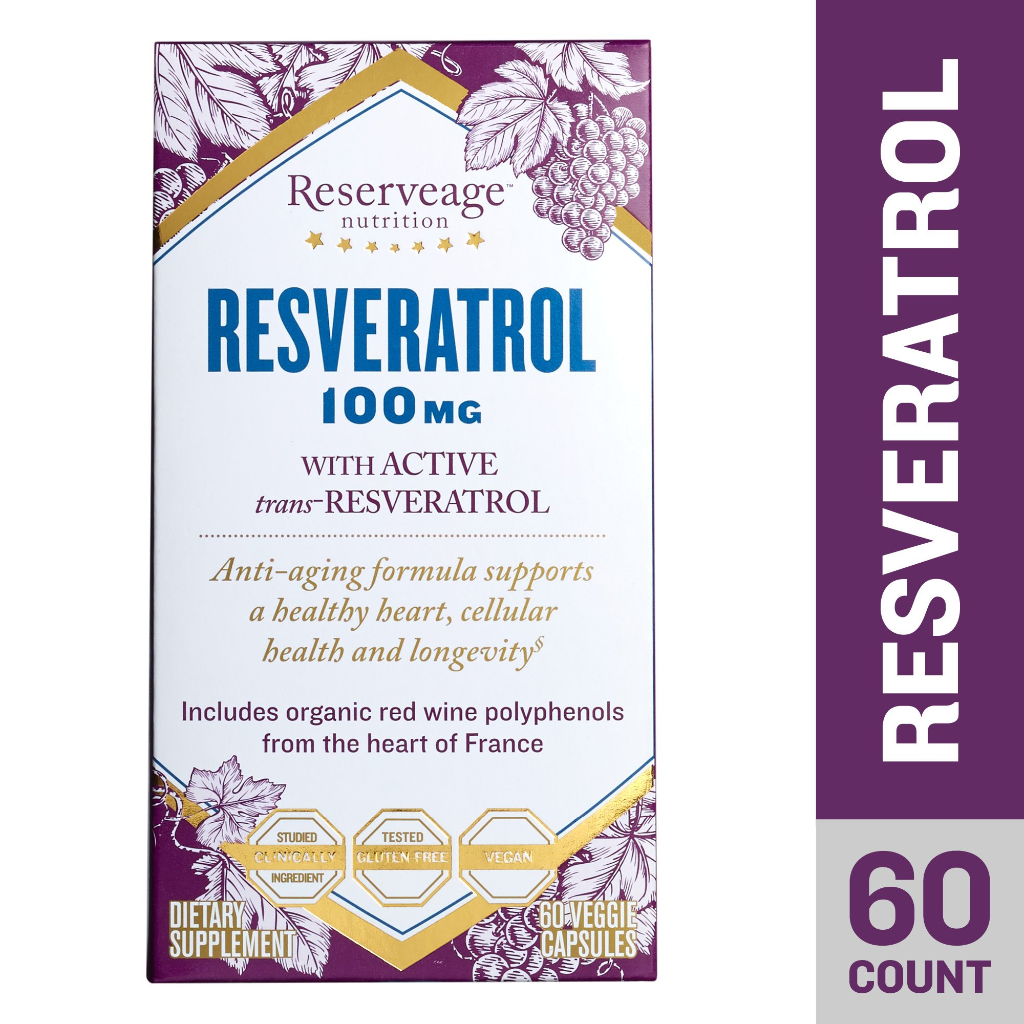 Reserveage - Resveratrol 100mg, Antioxidant Support for a Healthy Heart and Age Defying, Youthful Looking Skin with Organic Red Grapes and Quercetin, Gluten Free, Vegan, 60 Capsules