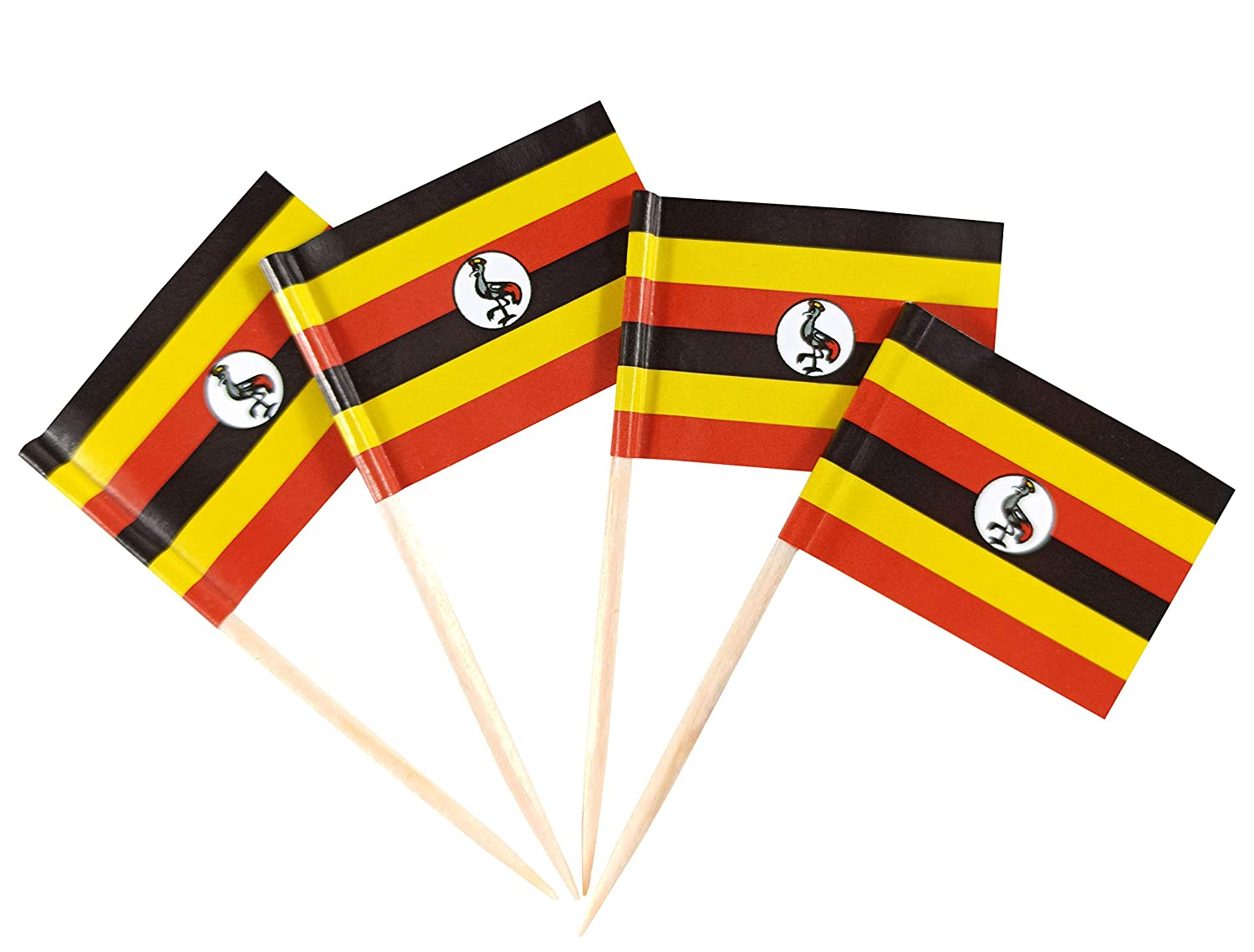 JBCD Uganda Flag Toothpicks Ugandans Flags Party Cupcake Topper Cocktail Tooth Picks Decorations Toothpick Flag Bar Picks Cup Cake Mini Small Paper Flags National Tiny Dinner Food Thin Sticks