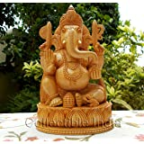 """Collectible India 8"""" inches wooden Ganesha Ganesh statue - handmade home decor gift"""