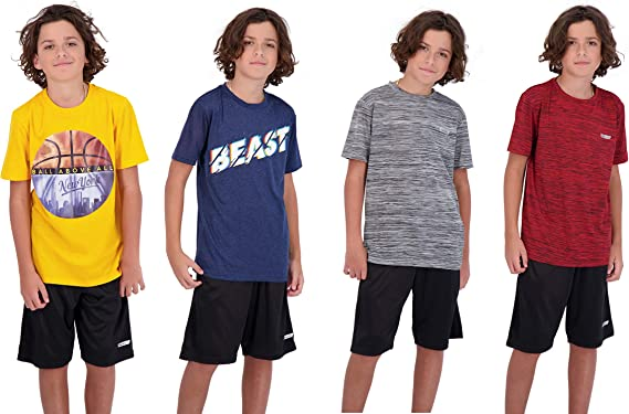 Hind 4-Pack Boys Youth Quick-Dry Breathable Performance Active Athletic T Shirts
