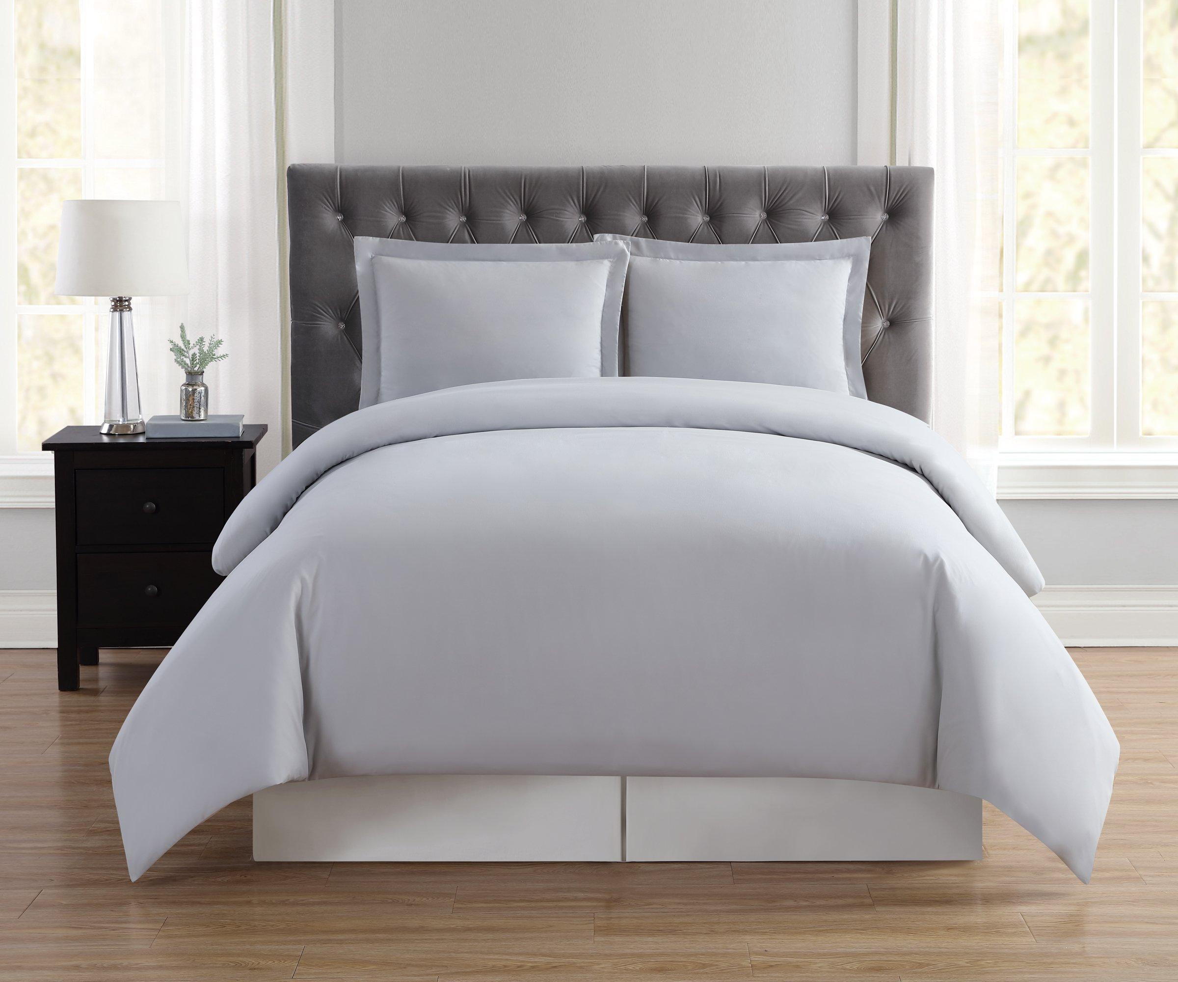Truly Soft Everyday Elegant Duvet Set, King, Silver Grey