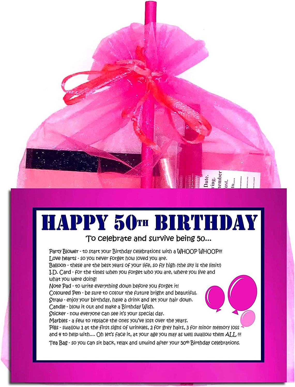 BIRTHDAY 16 18 21 30 40 50 60 70 SURVIVAL KIT Novelty Gift Present Organza Bag