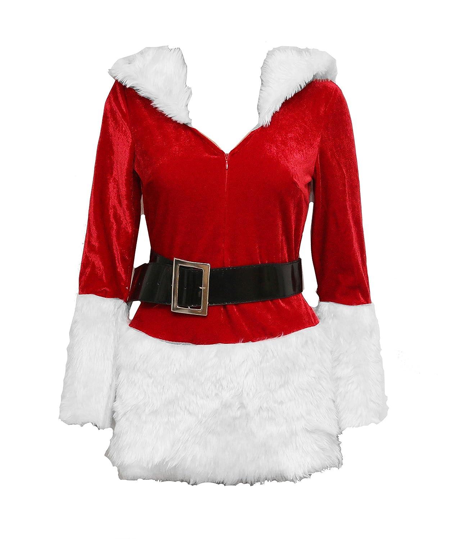 amazon com bslingerie christmas santa women zip up costume