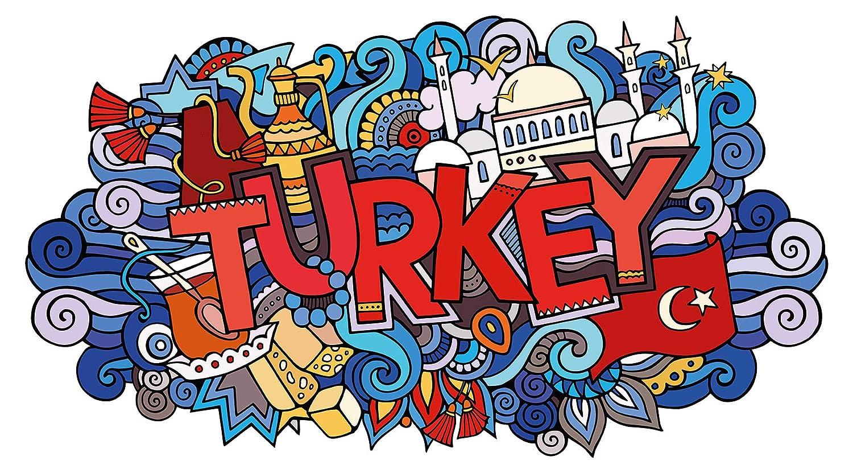Wandtattoo Orient Wandsticker Türkei Schriftzug auf einem bunten Hintergrund or