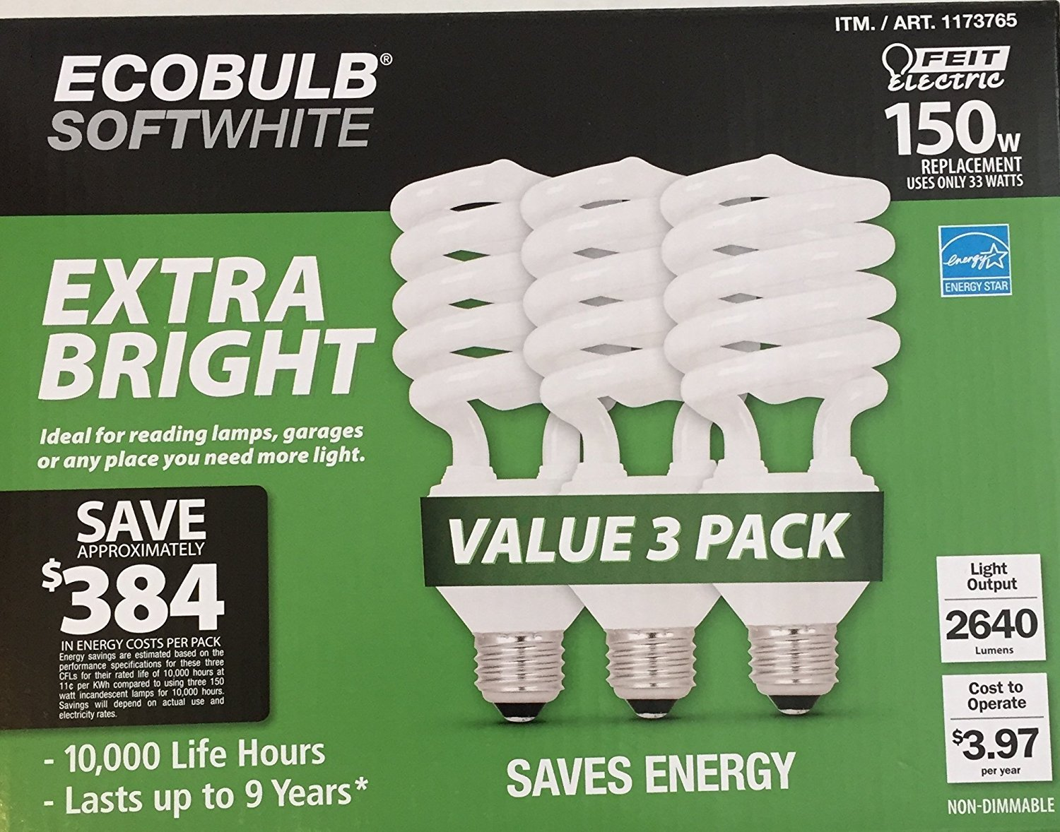 Feit Electric EcoBulb Soft White 33W Extra Bright 150W Equivalent Compact Fluorescent Light Bulb CFL 3 Pack 1173765-ESL33T//3