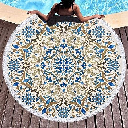 YULXS Toalla de Playa con tapicería Redonda - Mandala Fina ...
