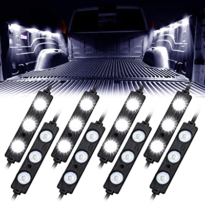 Linkstyle Truck Bed Led Light Kit, 12V 24LEDs Waterproof Rock Lighting Kits for Truck Pickup Off Road Under Car Foot Wells Rail Light Van Trailer Cargo White Light - 8 Pcs: Everything Else
