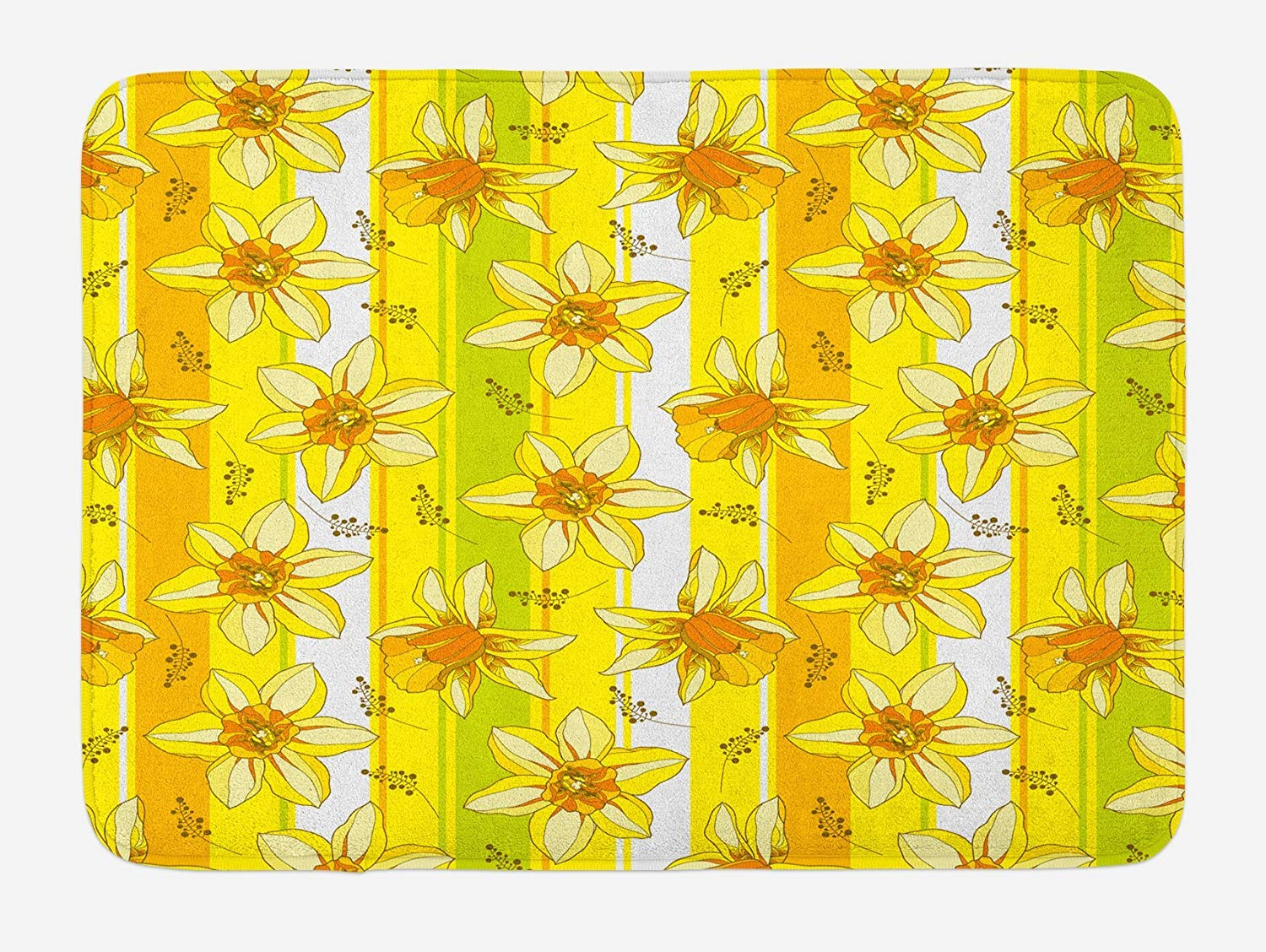 TAQATS Yellow Flower Bath Mat, Floral Spring Narcissus and Daffodil Jonquil Blooms Striped Backdrop, Plush Bathroom Decor Mat with Non Slip Backing, 23.6 W X 15.7 W Inches, Yellow Apple Green