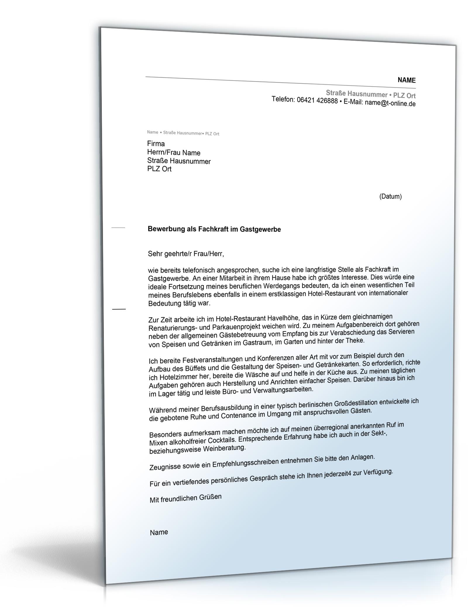 Anschreiben Bewerbung Hotel- und Gastgewerbe [Word Dokument]: Amazon.de:  Software