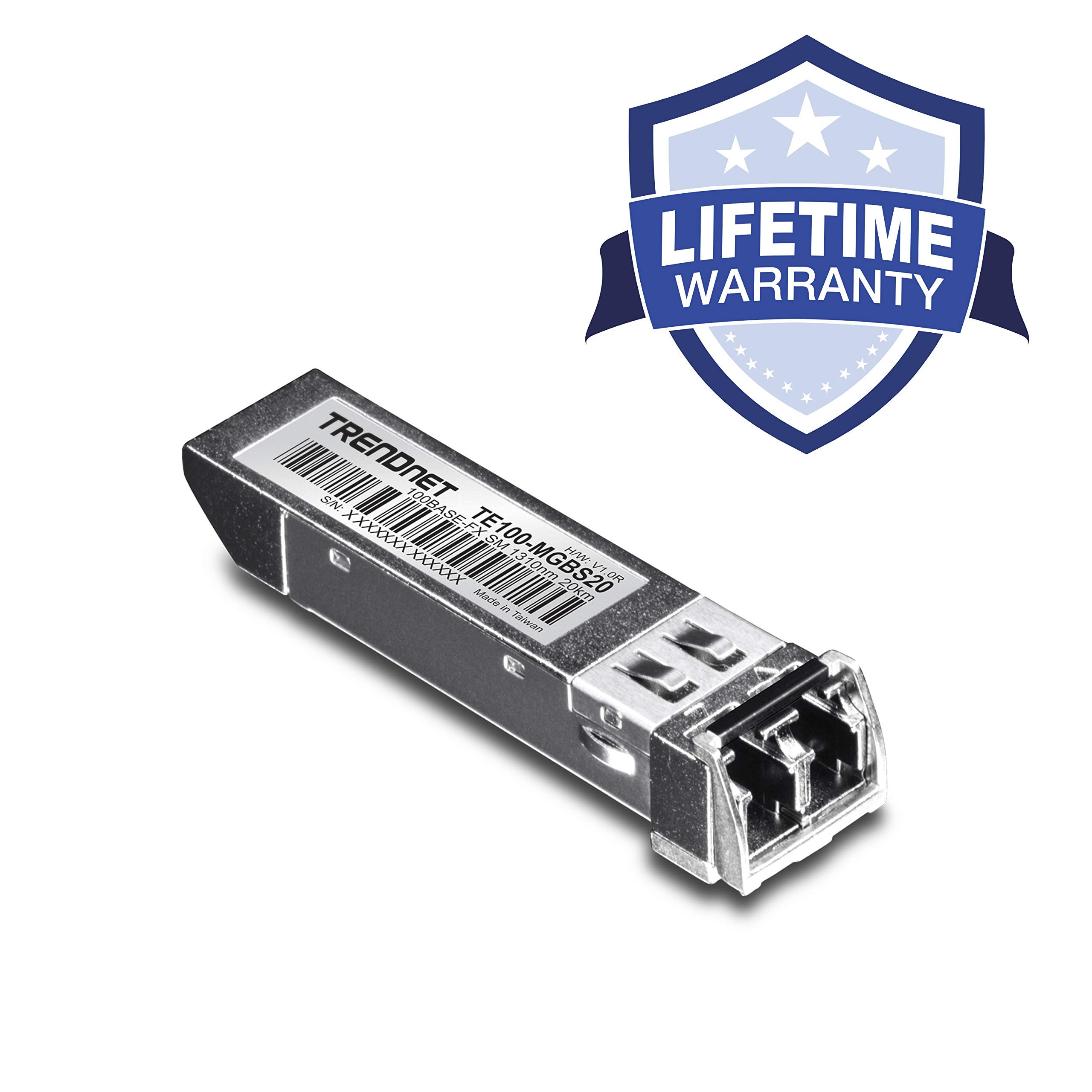 TRENDnet 100Base-FX SFP Single-Mode LC Module, Up to 20 km, Standard SFP Compatible, Up to 155Mbps Connection Speeds, 1310nm, Lifetime Protection, TE100-MGBS20