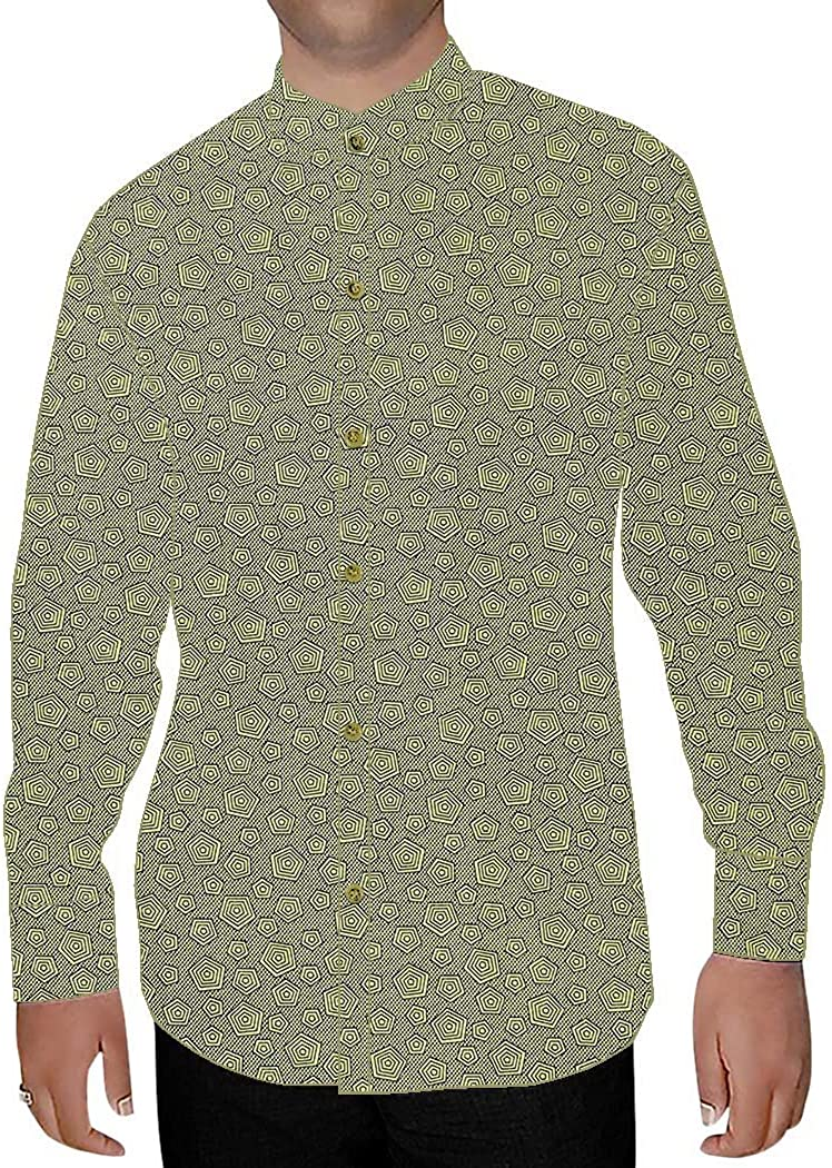INMONARCH Mens Green Printed Nehru Collar Shirt Box Design NSH15279