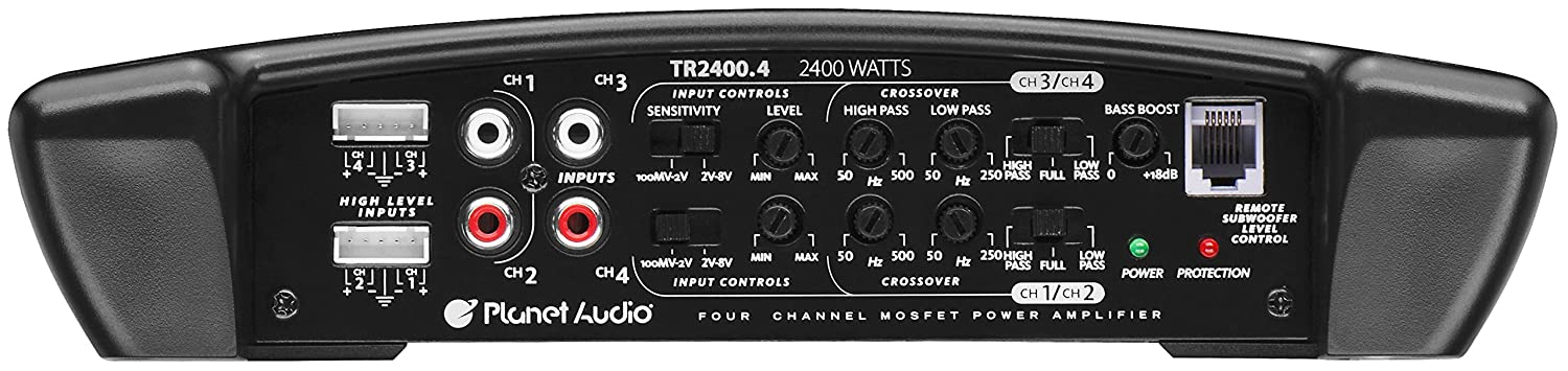 4 Channel 2 to 8 Ohm Stable Class A//B Full Range Bridgeable MOSFET Car Amplifier with Remote Subwoofer Control Planet Audio TR2400.4 Torque 2400 Watt