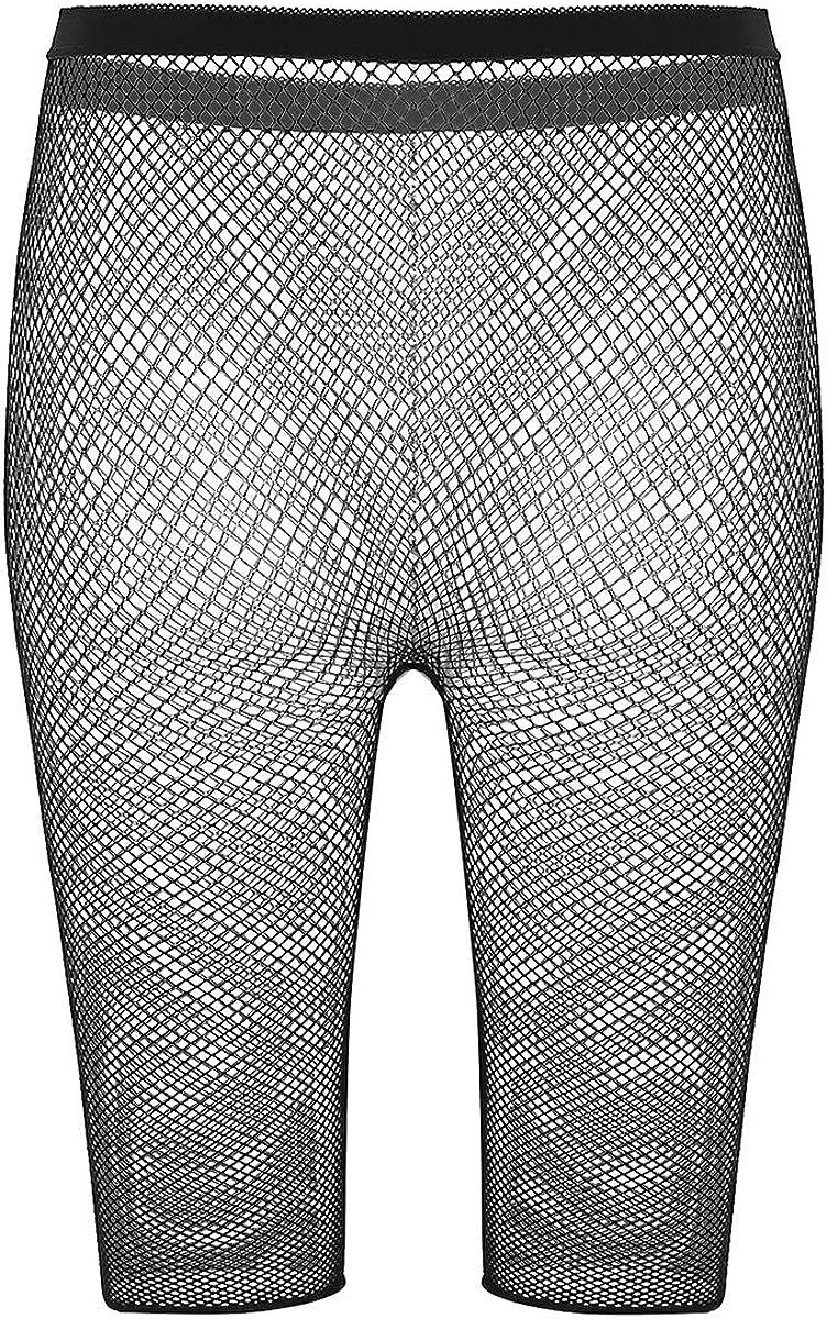 JEATHA Womens High Waisted Fishnet Mesh 3//4 Length Leggings Swimsuit Cover Up Short Pants