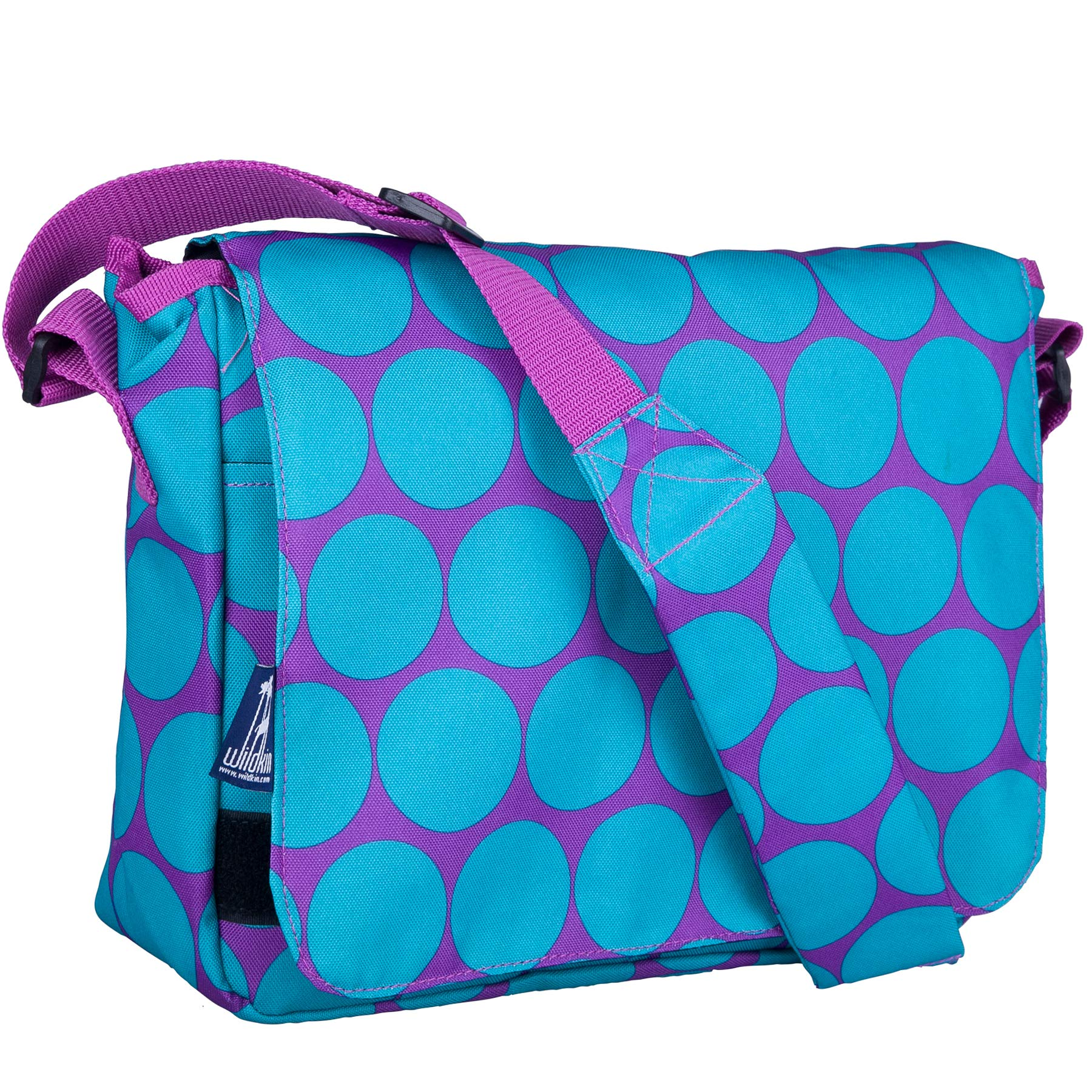 Wildkin Messenger Bag, 13 x 10 Inch Messenger Bag, Includes Interior and Exterior Pockets and Velcro Closure, Ages 8+, Perfect for School, Sports, and Day Trips – Big Dot Aqua