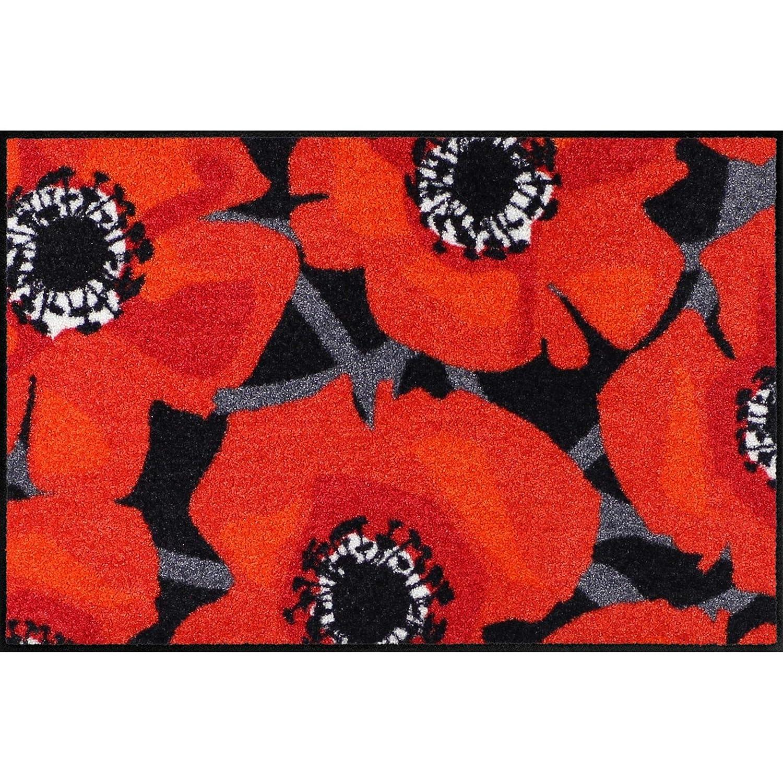 Salonloewe Bloom Poppy schwarz Fußmatte 060x180 cm Schmutzfangmatte waschbar SLD1758-060x180 B074FQZ827 Fumatten