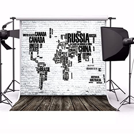 AOFOTO 6x6ft World Map Brick Wall Photography Background Fathers Day Creative Design Countries Backdrop Business Office Decoration Dad Man Pap Artistic Portrait Photo Shoot Studio Props