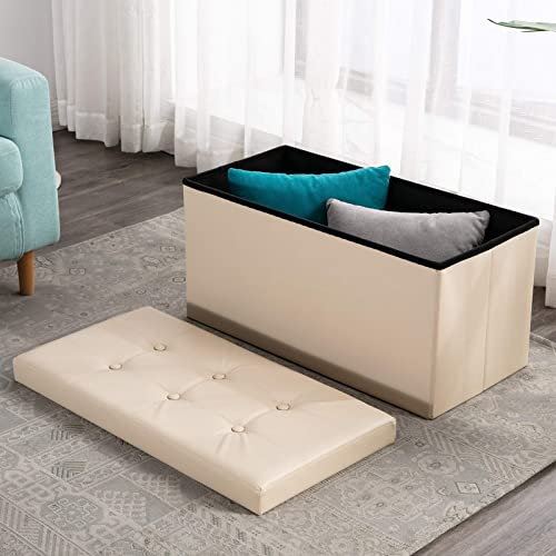 ANJ 30 Inches Folding Storage Ottoman Bench with Lid, Padded Leather Storage Chest Footstool Beige