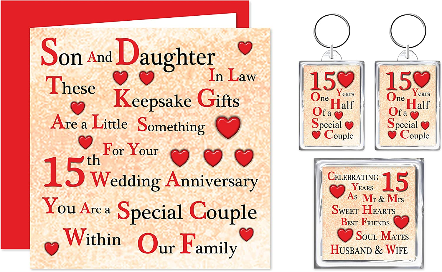Son Daughter In Law 15th Wedding Anniversary Gift Set Card 2 Keyrings Fridge Magnet A Little Something For A Special Couple On Your Crystal Anniversary 15