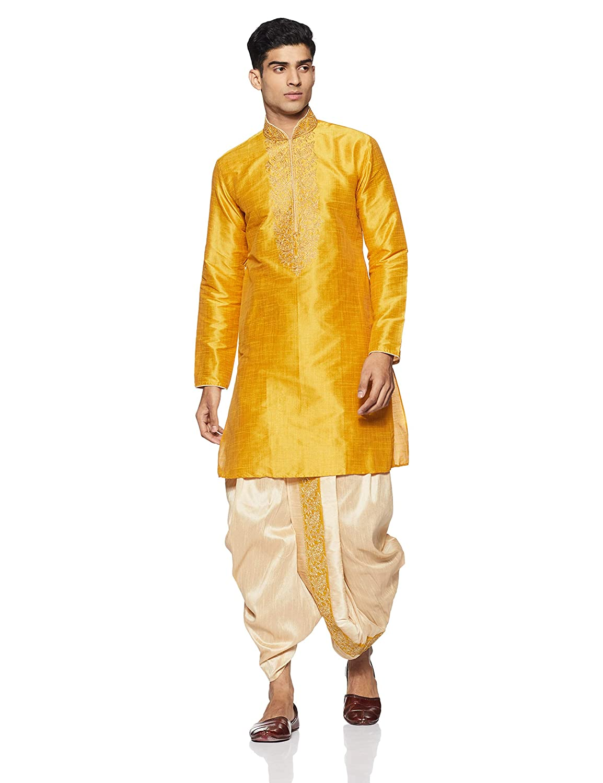 59d37c9b33 Manyavar Men's Kurta & Dhoti Pant Set (S952475): Amazon.in: Clothing &  Accessories
