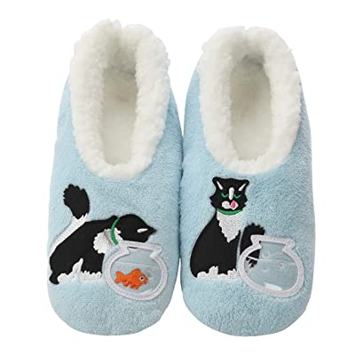 Snoozies Pairables Womens Slippers - House Slippers - Blue Cat at Women's Clothing store