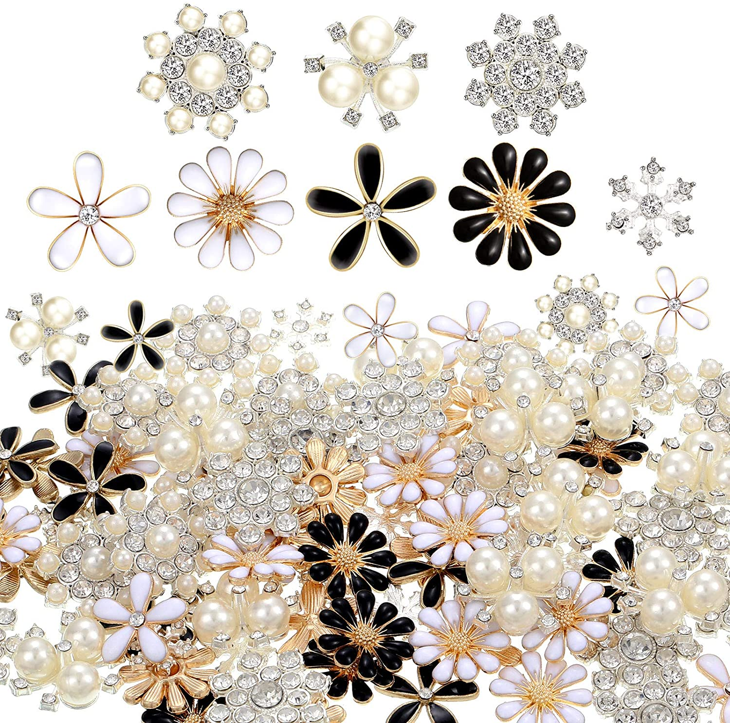 80 Pieces Rhinestone Buttons Embellishments Buttons Faux Pearl Buttons Flat Back Flower Rhinestone Buttons for Jewelry Making Wedding Party Home Decoration DIY Craft Hair Accessory