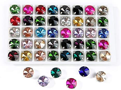Rhinestones Rivoli Stunning Purple AB 12mm CRAFT Pack of 5 UK seller