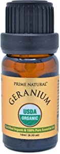 Organic Geranium Oil 10ml - USDA Organic Certified - Natural Pure Undiluted Therapeutic Grade for Aromatherapy Scents Diffuser Natural Deodorant Skincare Calming Rose Floral Smell
