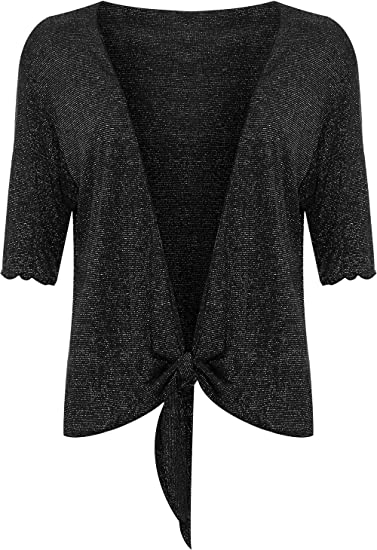 e8a1c801cac WearAll Women s Plus Size Lurex Glitter 3 4 Sleeve Tie Up Shrug Top - Black