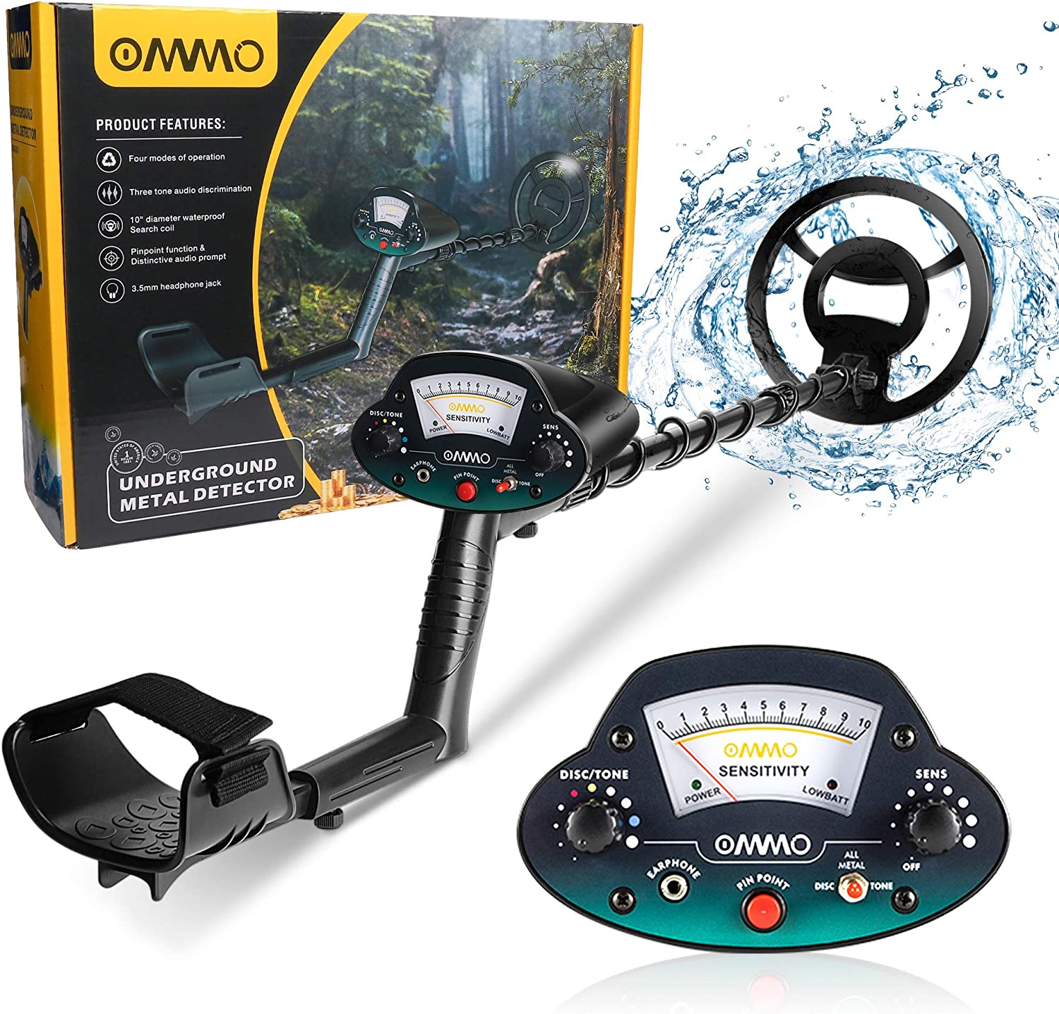OMMO Metal Detector for Adults & Kids, Waterproof Metal Detectors with High Accuracy Adjustable Pointer Display, Pinpoint & Discrimination & All Metal &Tone Mode, for Detecting Coin, Beach Treasures